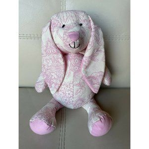 "16"" Pink PLUSH Bunny Rabbit Cream Floral Toile"